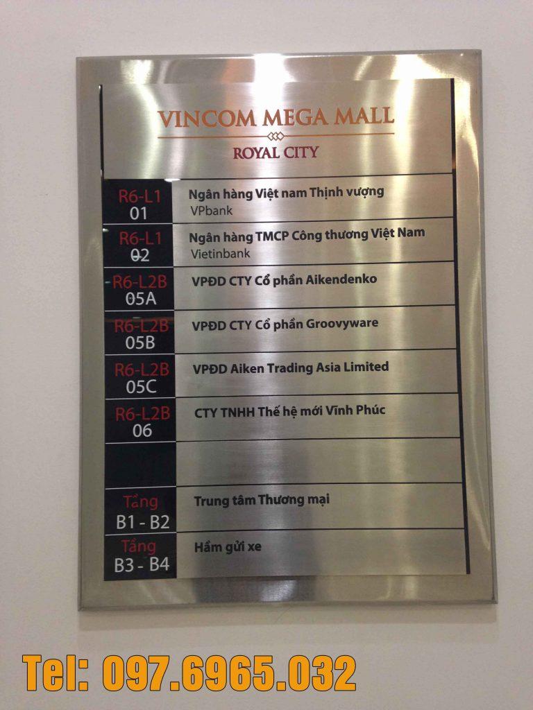 Thi công bảng chỉ dẫn tòa nhà Vincom Mega Mall